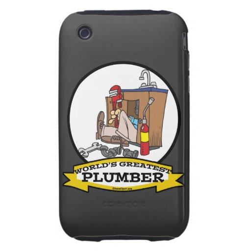 WORLDS GREATEST PLUMBER III MEN CARTOON iPhone 3 TOUGH CASE