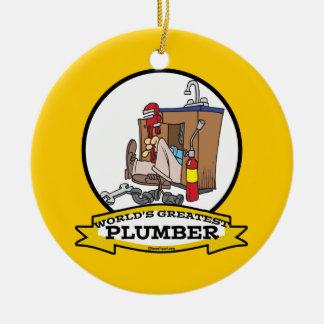 WORLDS GREATEST PLUMBER III MEN CARTOON CHRISTMAS ORNAMENT