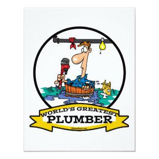 WORLDS GREATEST PLUMBER IV MEN CARTOON 4.25X5.5 PAPER INVITATION CARD