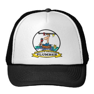 WORLDS GREATEST PLUMBER IV MEN CARTOON TRUCKER HAT