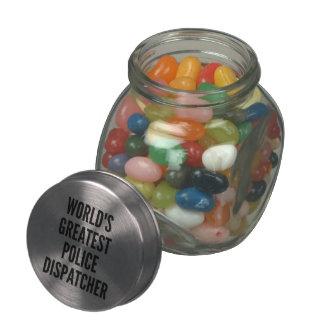 Worlds Greatest Police Dispatcher Glass Candy Jar