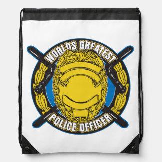 Worlds Greatest Police Officer Drawstring Backpack