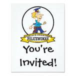 "WORLDS GREATEST POLICEWOMAN CARTOON 4.25"" X 5.5"" INVITATION CARD"
