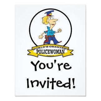WORLDS GREATEST POLICEWOMAN CARTOON 4.25X5.5 PAPER INVITATION CARD