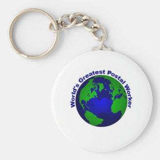 World's Greatest Postal Worker Basic Round Button Keychain