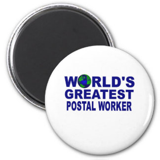 World's Greatest Postal Worker 2 Inch Round Magnet