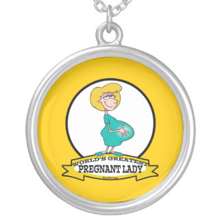 WORLDS GREATEST PREGNANT LADY CARTOON PERSONALIZED NECKLACE