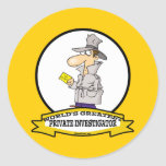 WORLDS GREATEST PRIVATE INVESTIGATOR MEN CARTOON STICKERS