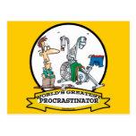 WORLDS GREATEST PROCRASTINATOR MEN CARTOON POSTCARD