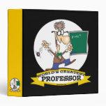 WORLDS GREATEST PROFESSOR MEN CARTOON 3 RING BINDERS