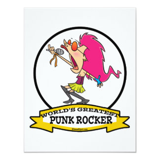 WORLDS GREATEST PUNK ROCKER GIRL CARTOON 4.25X5.5 PAPER INVITATION CARD