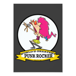 WORLDS GREATEST PUNK ROCKER GIRL CARTOON 5X7 PAPER INVITATION CARD