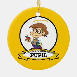 WORLDS GREATEST PUPIL BOY CARTOON Double-Sided CERAMIC ROUND CHRISTMAS ORNAMENT
