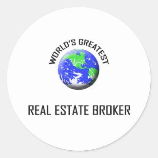 World's Greatest Real Estate Broker Classic Round Sticker