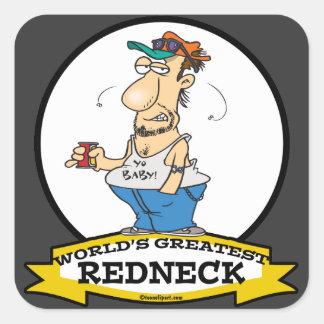 WORLDS GREATEST REDNECK II CARTOON SQUARE STICKER