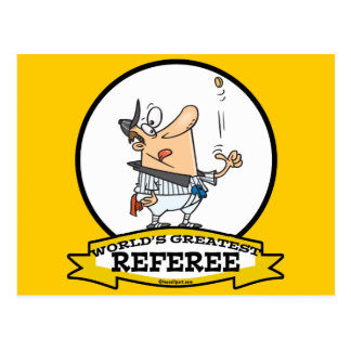 WORLDS GREATEST REFEREE MEN CARTOON POSTCARD