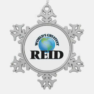 World's Greatest Reid Snowflake Pewter Christmas Ornament