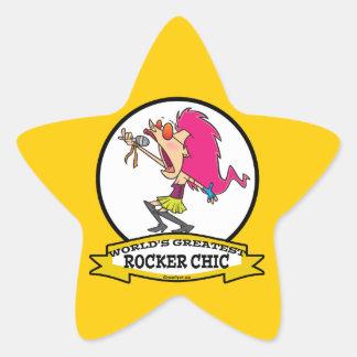 WORLDS GREATEST ROCKER CHIC CARTOON STAR STICKER