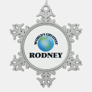 World's Greatest Rodney Snowflake Pewter Christmas Ornament