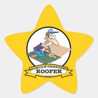 WORLDS GREATEST ROOFER MEN CARTOON STAR STICKER