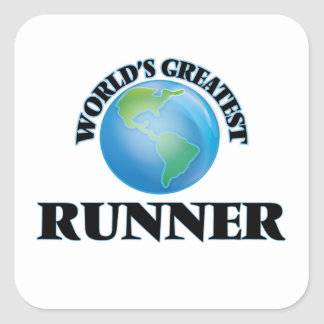 World's Greatest Runner Square Stickers