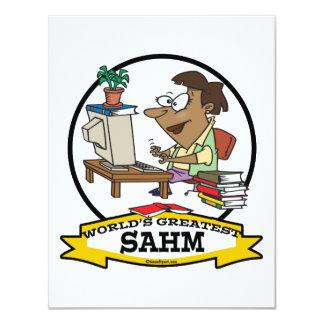 "WORLDS GREATEST SAHM WOMEN CARTOON 4.25"" X 5.5"" INVITATION CARD"