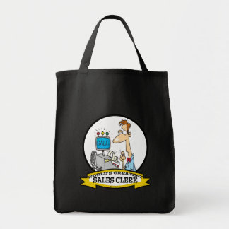 WORLDS GREATEST SALES CLERK MEN CARTOON TOTE BAG