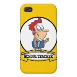 WORLDS GREATEST SCHOOL TEACHER WOMEN CARTOON iPhone 4 COVER