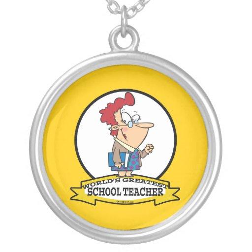WORLDS GREATEST SCHOOL TEACHER WOMEN CARTOON JEWELRY