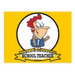 WORLDS GREATEST SCHOOL TEACHER WOMEN CARTOON POSTCARD