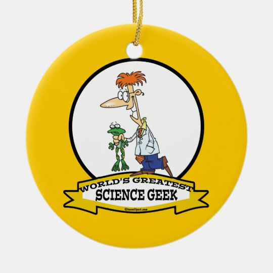 WORLDS GREATEST SCIENCE GEEK MEN CARTOON CERAMIC ORNAMENT