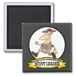 WORLDS GREATEST SCOUT LEADER MEN CARTOON 2 INCH SQUARE MAGNET