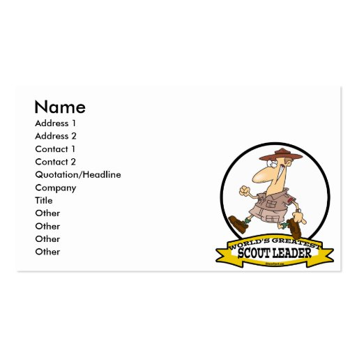 WORLDS GREATEST SCOUT LEADER MEN CARTOON BUSINESS CARD TEMPLATE