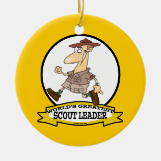 WORLDS GREATEST SCOUT LEADER MEN CARTOON CHRISTMAS TREE ORNAMENTS