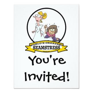 WORLDS GREATEST SEAMSTRESS CARTOON 4.25X5.5 PAPER INVITATION CARD