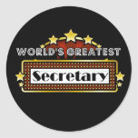 World's Greatest Secretary Round Stickers