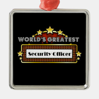 World's Greatest Security Officer Square Metal Christmas Ornament