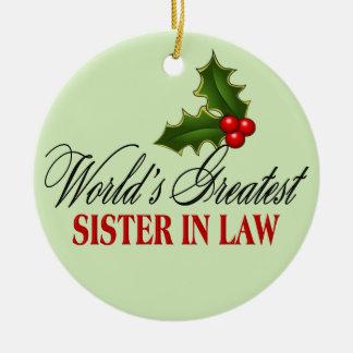 World's Greatest  Sister In Law Ceramic Ornament
