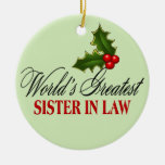 World's Greatest  Sister In Law Double-Sided Ceramic Round Christmas Ornament