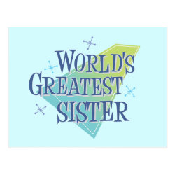 Postcard with World's Greatest Sister design