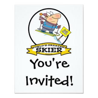 "WORLDS GREATEST SKIER MEN CARTOON 4.25"" X 5.5"" INVITATION CARD"