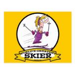 WORLDS GREATEST SKIER WOMEN CARTOON POSTCARD