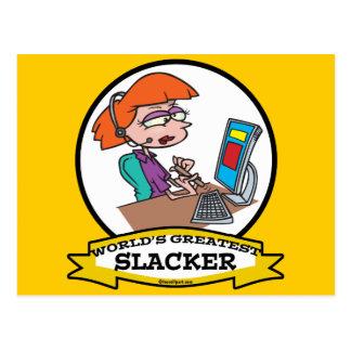 WORLDS GREATEST SLACKER WOMEN WORKER CARTOON POSTCARD