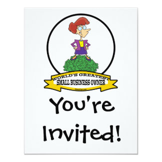 WORLDS GREATEST SMALL BUSINESS OWNER WOMAN CARTOON CARD