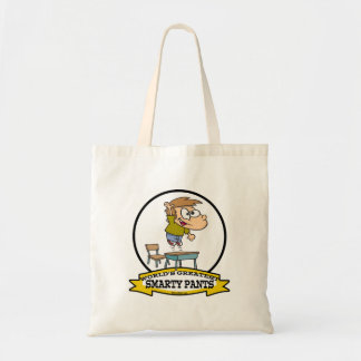 WORLDS GREATEST SMARTY PANTS BOY CARTOON CANVAS BAGS