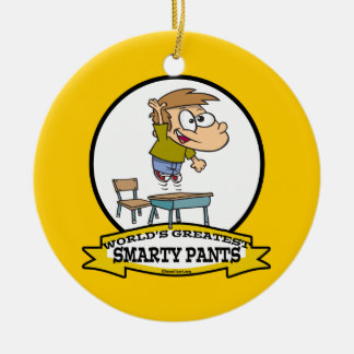 WORLDS GREATEST SMARTY PANTS BOY CARTOON CERAMIC ORNAMENT