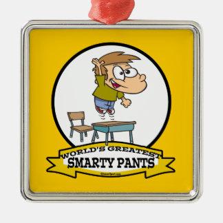 WORLDS GREATEST SMARTY PANTS BOY CARTOON METAL ORNAMENT
