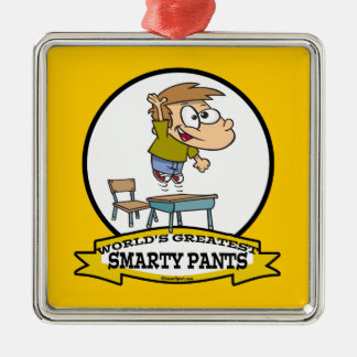 WORLDS GREATEST SMARTY PANTS BOY CARTOON SQUARE METAL CHRISTMAS ORNAMENT