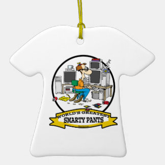 WORLDS GREATEST SMARTY PANTS MEN CARTOON Double-Sided T-Shirt CERAMIC CHRISTMAS ORNAMENT