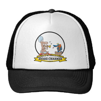 WORLDS GREATEST SNAKE CHARMER CARTOON TRUCKER HAT